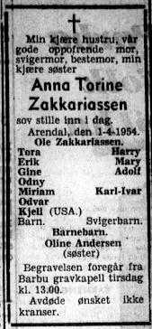 19540405 Agderposten dødsannonse Anna Torine Zachariassen