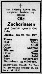 19671023 Agderposten dødsannonse Ole Zachariassen