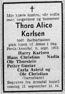 19730910 Agderposten Thora Karlsen dødsannonse