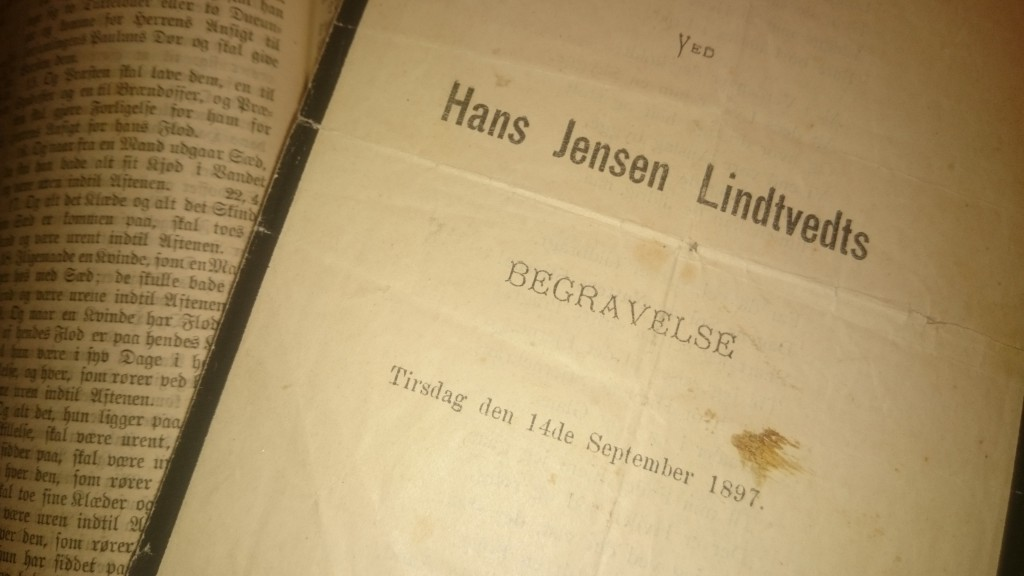 Hans Jensen Lindveits begravelsesanger fra 1897.